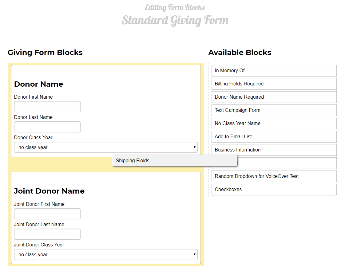 An image showing the list of created Form Blocks and dragging the Shipping Fields block into a giving form